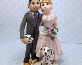 Custom wedding cake topper, personalized cake topper, Bride and groom with dalmation cake topper, Mr and Mrs cake topper
