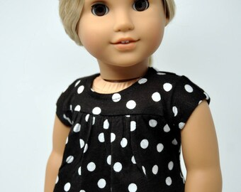 Black and White Polka Dot Shirt  Top   18 Inch Doll Clothes