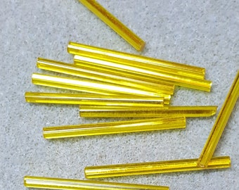 30mm Bugles Citrine Transparent Silver Lined