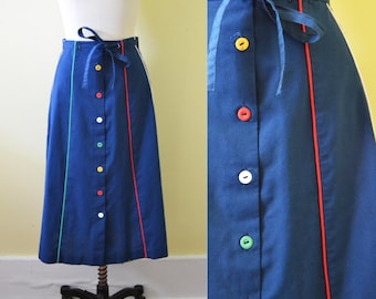 1970s sweet A line midi knee length navy blue skirt with rainbow piping / Medium Large vintage ladies cotton golf skirt / button up skirt