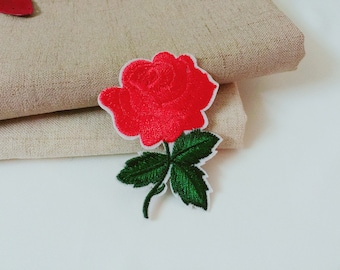 cerise rose patch-iron on patch-embroidered patch-flower patch-patch for jacket -diy-applique