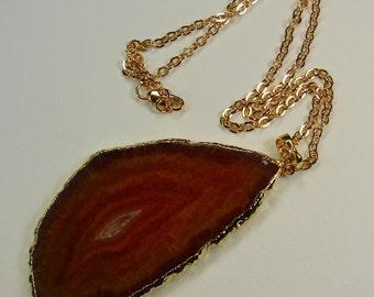 Verkauf 15 % Rabatt auf natürliche Achat Scheibe Halskette 24K gold plated Kanten mit 24K Gold geflochtene Kette mit Druzy Stein, Geode Halskette (Lot 031)
