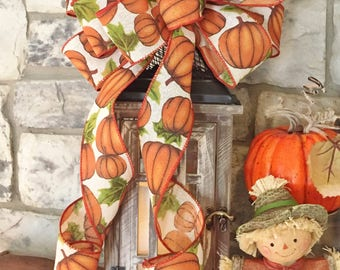 Fall Pumpkin~Wired Edge Ribbon Bow for Wreath, Swag, Lantern~Autumn Decor~Timeless Floral Creations~Free Shipping