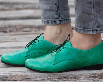 Green Leather Shoes, Green Oxford Shoes, Close Shoes, Flat Shoes, Green Shoes , Free Shipping