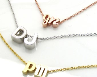 Two initial necklace boyfriend girlfriend his and her double initial necklace lowercase cursive uppercase two initials necklace couples necklace bridal necklace mozeypictures Images