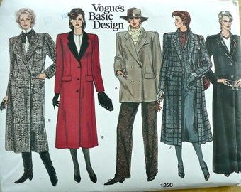 VOGUE Sew Pattern 1220~Classic COAT~12~V-Neck, Single or Double Breasted~UNCUT