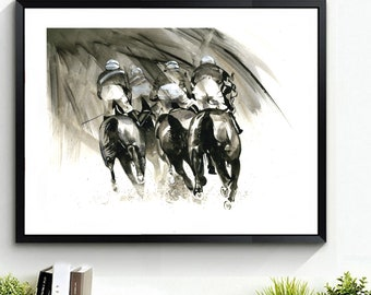 PRINT, 'Around the Bend', Racing Horses,  Watercolour, Limited Edition. Horse painting, Black& White,