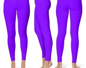 Violet Leggings, Mid Rise Waist Workout Pants, Bright Colored Leggings for Yoga