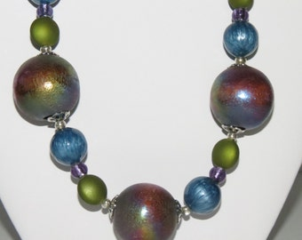Large round painted wood bead necklace