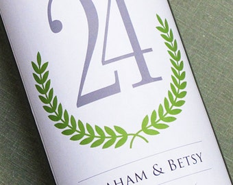 Wine Label Table Number with Laurel Wreath