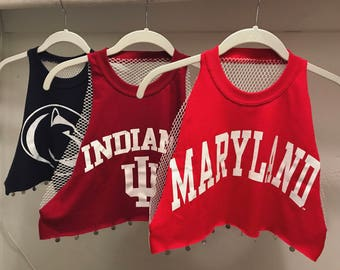 Custom college top with mesh back and charms