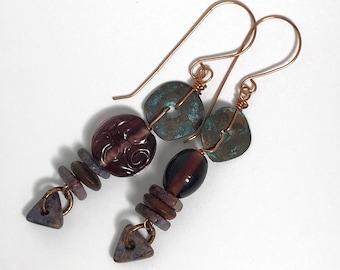 Mix Match Texture, Purple Glass Ceramic, Greek Patina Copper, Lightweight Boho Earrings