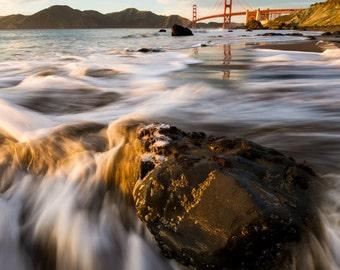 San Francisco Photo of the Golden Gate Bridge Beach at Sunset - Beautiful San Francisco Bay in California Print - Home Decor Vibrant Colors