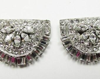 Vintage-Jewelry-Silver-Rhinestone-Dress Clips-Costume Jewelry-Art Deco-Floral-Unique-Women-Gift-Birthday-Birthday Gift-Anniversary Gift