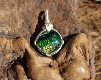 Dichroic Glass Pendant ~ Sterling Silver, Wire Wrapped Pendant, Green and Yellow, Art Glass, Dichro, Fused Glass, Boho, Bright and Colorful