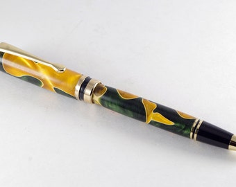 Handmade Pen - Ballpoint Pen Classic in Orange and Green Acrylic and 24K Gold, Handcrafted Pen, Pen Gift, Pen, Handturned Pen