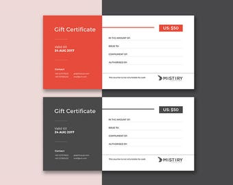 Gift Certificate design for business uses stationary template in Photoshop PSD version Instant Download