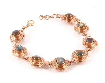 Labradorite brass bracelet