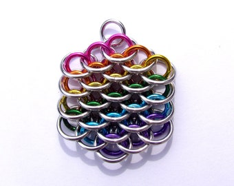 Chain Mail Pendant, Rainbow Jewelry, Mini Dragonscale Pendant, Multicolor Pendant, Jump Ring Jewelry