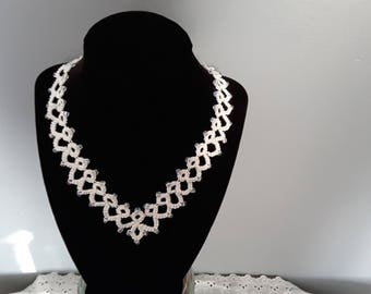 18 inch chevron necklace with clear beads