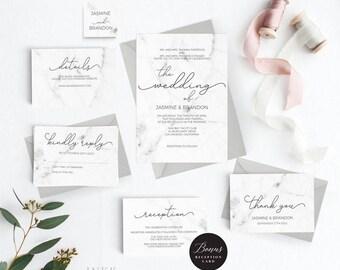 Modern Marble Wedding Invitation Template, Wedding Invitation Printable, Invitation Set,Cheap Invitation,DIY PDF Instant Download #E038