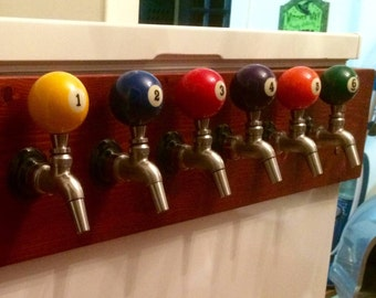 Beer Keg Tap - New pool balls made into Beer Keg Tap Handles - Threaded right into the ball,  for your kegerator New for your Man Cave