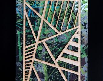 "Laser Cut Layered Screen Print 'Stripes & Angles' 5""x7"""