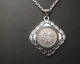 British Sixpence Coin Necklace -  British SixPence Coin Pendant in Pendant Tray- 1961 British Six Pence Coin Necklace