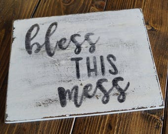 BLESS THIS MESS - Rustic Wood Sign Distressed White Fixer Upper Style Decor