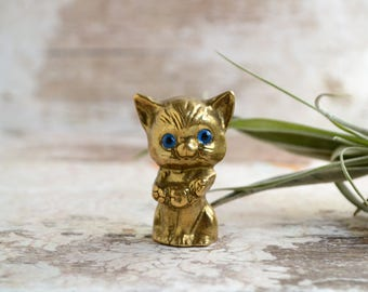 Vintage brass cat.Miniature cat.Solid brass kitten.Animal figurine.Blue rhinestone eyes.Good luck cat.Gift for cat lover.Home decor.From80's