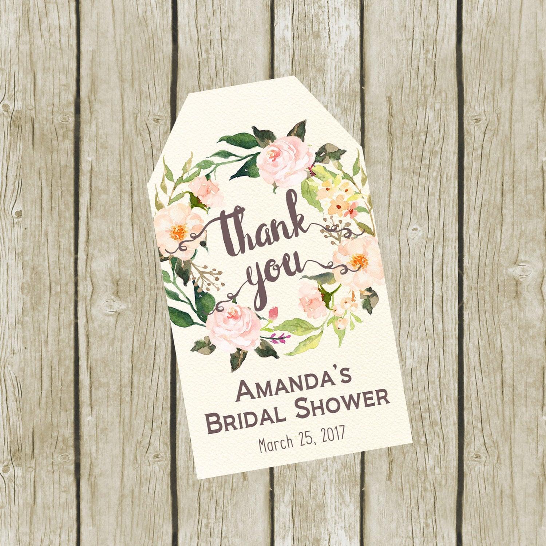 Thank You Tags Printable. Custom Bridal Shower Thank You Tags. Thank ...