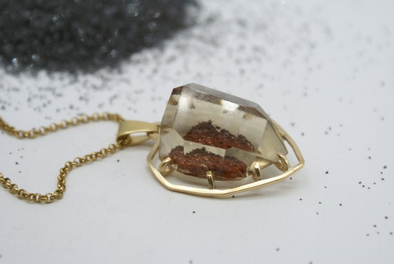 Caged  Smokey Quartz pendant