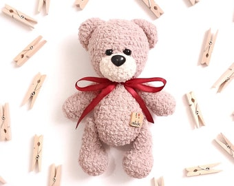 Teddy bear, crochet teddy bear, plush bear, amigurumi teddy bear