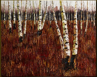 Autumn Birch Tree Forest Original Landscape Painting Oil on Canvas Textured Palette Knife Contemporary Modern Art Seasons 24X30 by Willson