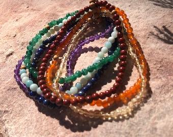Chakra Anklet Stack- chakra/anklet/stretch/stack/gemstone/jewelry/rainbow/yoga/hippie/beach/gift
