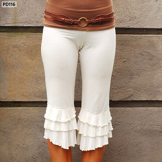 Spring Sale! Ruffle Pants Bloomer Capri in Cream for Womens Fashion Festival Boho Chic Yoga Wear Spring Gift Wholesale