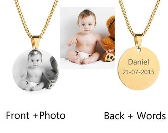 Personalized necklace, with photo and engraving