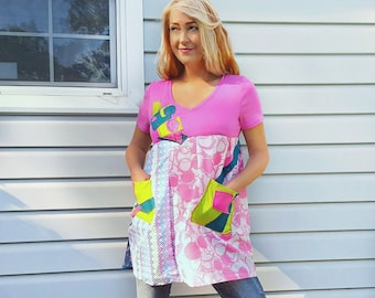 Pink Medium Large Tunic Upcycled Clothing Long Top Dress Retro Vintage Mod Wearable Art Boho Clothes Artsy OOAK M/L Spring Colors Eco DANNA