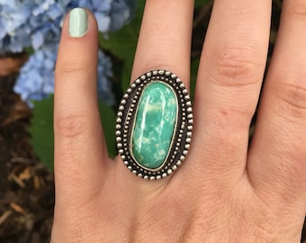 Turquoise ring, turquoise jewelry, sterling silver ring, statement ring, turquoise jewelry, Royston turquoise, handmade ring, gifts for her