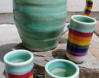 Pitcher shot glass set. Wheel thrown sake or shot set. 4 piece in rainbows