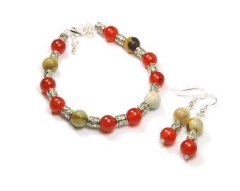Carnelian gemstone beads earrings and Bracelet set