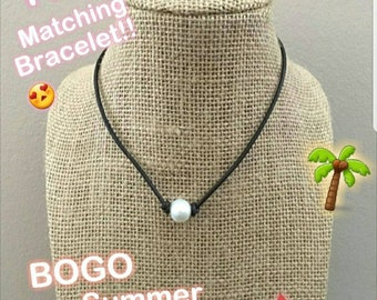 Leather and Single Freshwater Pearl Necklace Single Pearl Leather Necklace Dark Brown Leather With Pearls Necklace Choker Necklace