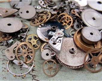 Vintage WATCH PARTS gears - Steampunk parts - C93 Listing is for all the watch parts seen in photos