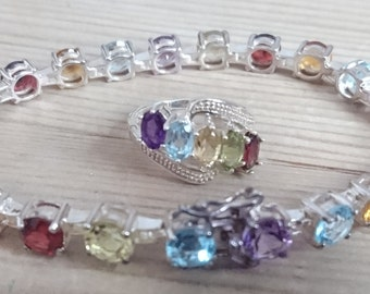 Sterling silver multi coloured real stones bracelet and ring
