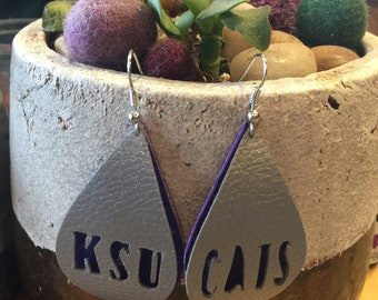 Faux leather Teardrop Earring with KSU and Cats details