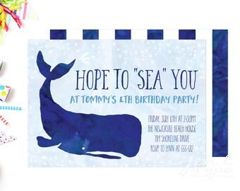 Whale Invitation | Whale Birthday | Whale Birthday Party | Birthday Invitation | Whale Party | Party Invitation | Birthday Invite | Whale