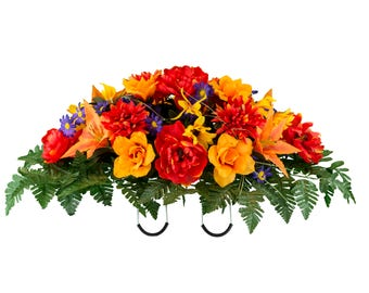 Red Peony and Orange Tiger Lily Fall Mix Cemetery Saddle Arrangement (SD2151)