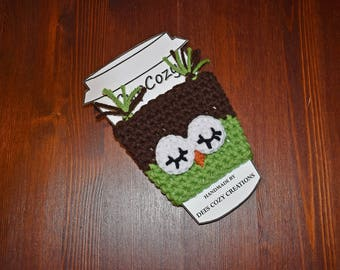 Owl Cup Cozy, Cup Sleeve, Coffee Cozy, Owl Lover Gift, Beverage Cozy,  Drink Cozy, Animal Cup Cozy, Crochet