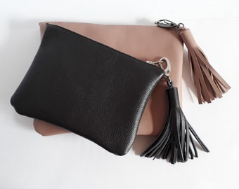 SMALL LEATHER CLUTCH,Leather Tassel,Leather Purse, Leather Clutch Purse, gray Evening Clutch,Wedding Clutch, iPad Case,New York