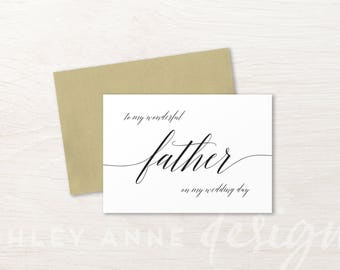 To My Father On My Wedding Day Card, Father of The Bride Gift, Father of the Groom Gift, Dad Wedding Day, To My Dad Card